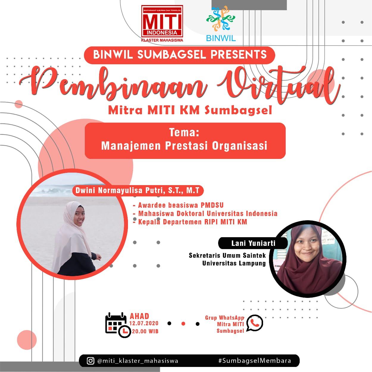 You are currently viewing Pembinaan Virtual Mitra MITI KM Sumbagsel: Manajemen Prestasi Organisasi